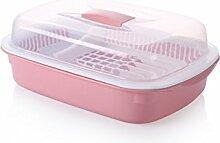 Küche Kunststoff Drain Wasser Schrank Geschirr Schrank Regal mit Deckel (3 Farben, 2 Größen optional) ( farbe : Pink , größe : 39*24*13cm )