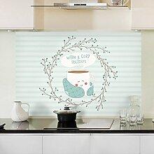 Küche ölbeständig Oberfläche Widerstand bei hohen Fett anti-seize Aufkleber Glas Wandfliesen mit der wasserdichten Extraktoren öl-beständig Aufkleber 90 * 60 cm, Kaffee Arabisch