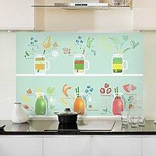 Küche ölbeständig Oberfläche Widerstand bei hohen Fett anti-seize Aufkleber Glas Wandfliesen mit der wasserdichten Extraktoren öl-beständig Aufkleber 90 * 60 cm, süße Getränke