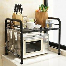 Küche Regal Landung Mikrowelle Ofen Regal Töpfe Edelstahl Mehrere Schichten Incorporated Storage Rack Regal ( Farbe : Schwarz , größe : 50*35*50cm )