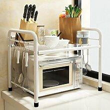 Küche Regal Landung Mikrowelle Ofen Regal Töpfe Edelstahl Mehrere Schichten Incorporated Storage Rack Regal ( Farbe : Weiß , größe : 55*35*50cm )