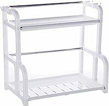 Küche Regal Spice Rack Lagerung Rack Floor Stand Lagerung Rack Kitchenware Double Shelf ( Farbe : WhiteA )