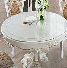 Küche Tischdecke Dickes PVC runde scheuern Tischdecke, weiche Glas Tischmatten wasserdichte Kristallplatte Couchtisch Tuch Tischdecke 2mm ( Farbe : Scrub-2mm , größe : Round-130cm )