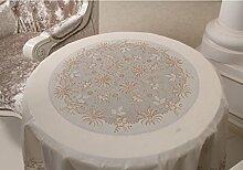 Küche Tischdecke PVC runde Tischdecke, Gold und Silber Druck Runde Kaffeetisch Tischdecke 180cm ( Farbe : D , größe : Round-180cm )