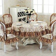 Küche Tischdecke Runde Tischdecke, Jacquard Tischdecke Couchtisch Stoff Stoff Tuch Tuch Tisch Tischdecke Kleine runde Tischdecke ( Farbe : Metallic , größe : ROUND-90CM )