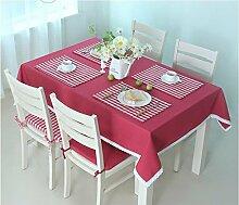 Küche Tischdecke Tischdecke Rectangle, Ländlich Solid Color Lattice Wohnzimmer Tuch Tischdecke Couchtisch Kleine runde Tisch Tischdecke ( Farbe : Rot , größe : 140*240CM )