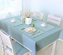 Küche Tischdecke Tischdecke Rectangle, Ländlich Solid Color Lattice Wohnzimmer Tuch Tischdecke Couchtisch Kleine runde Tisch Tischdecke ( Farbe : Blau , größe : 130*180CM )