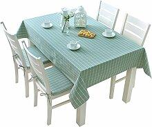Küche Tischdecke Tischdecke Rectangle, Modern Einfache Gitter Wohnzimmer Tuch Tischdecke Couchtisch Kleine runde Tisch Tischdecke ( Farbe : Blau , größe : 130*130CM )