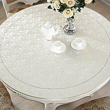 Küche Tischdecke Tischdecke, wasserdicht Crystal Plate Couchtisch Tuch PVC Tischdecke White Pebbles 1mm ( größe : Round-70cm )