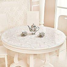 Küche Tischdecke Tischdecke, wasserdicht Crystal Plate Couchtisch Tuch PVC Tischdecke 1,5mm ( Farbe : A , größe : Round-90cm )