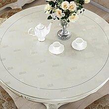 Küche Tischdecke Tischdecke, wasserdichte Kristallplatte Couchtisch Tuch PVC Tischdecke 1.5MM ( größe : Round- 90cm )