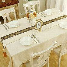 Küche Tischdecke Western Restaurant quadratisch Tisch quadratisch Tisch Tuch Tisch Tuch Tuch Kaffeetisch Baumwolle Hanf klein frisch ( Farbe : A , größe : 140*200CM )