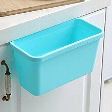 Küche Trash Schrank Tür hängende Vielfalt Creative Desktop Mülleimer Kunststoff ( Farbe : Blau )