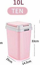 Küchen-Abfalleimer fuckluy Kunststoff Fassförmige drücken Sie latrinen Mülleimer, Wc, Rosa 10 L