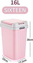 Küchen-Abfalleimer fuckluy Kunststoff Fassförmige drücken Sie latrinen Mülleimer, Wc, Rosa 16 L