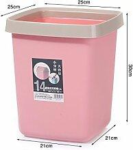 Küchen-Abfalleimer luoliwei Große kreative wc Mülleimer home Schlafzimmer Wohnzimmer Küche ohne Deckel, 14L ROSA