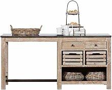 Küchen Arbeitstisch aus Kiefer Recyclingholz