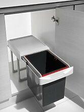 Küchen Einbau Abfalleimer Virtus 1, 1x 16 Liter, Handauszug, ab 40cm Schrankbreite, Lichtgrau, Deckel als Ablage nutzbar, Mülleimer, Abfallsammler,