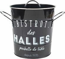Küchen-Mülleimer aus schwarzem Metall, weiß