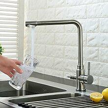 Küchenarmatur 3-Wege-Wasserfilter Wasserhahn aus Edelstahl für kaltes, heißes Wasser und gefiltertes Trinkwasser