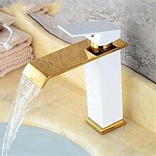 Küchenarmatur Golden/White Wasserfall Wasserhahn