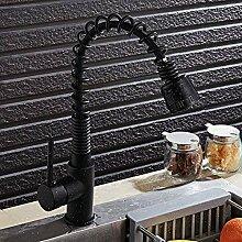 Küchenarmatur schwarz mit Punkt Messing
