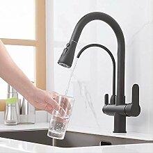 Küchenarmatur Wasserhahn Matt Schwarz Gefiltert