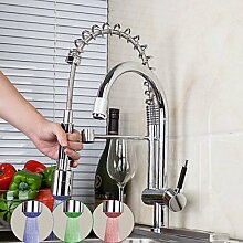 Küchenarmatur Zeitgenössisch LED / Mit ausziehbarer Brause Messing Chrom