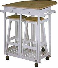 Küchenbar auf Rollen + 2 Hocker Küchentisch klappbar Tresen Tisch Sitzgruppe Küche Bar Theke