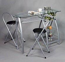 Küchenbar mit 2 Stühlen, Glasplatte