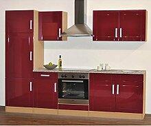 Küchenblock Chicago in Rot Hochglanz (8-teilig) Pharao24