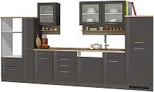 Küchenblock in Grau hochglänzend modern