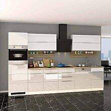 Küchenblock in Weiß Hochglanz Eiche Sonoma E-Geräten (13-teilig) Pharao24
