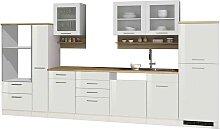 Küchenblock in Weiß Hochglanz Sonoma Eiche