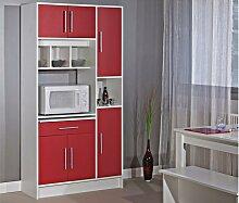 Küchenbuffet Buffetschrank MADY - Weiß & Rot