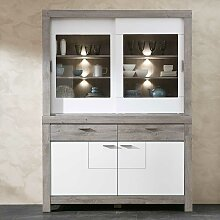 Küchenbuffet in Weiß und Eiche dunkel LED