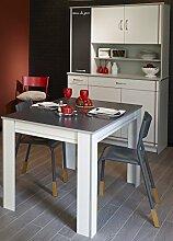 Küchenbuffet mit Esstisch weiss Melamin/ Alu Melamin