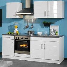 Kücheneinrichtung in Hochglanz-Weiß ohne Geräte