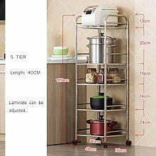 Küchengerät Rack Mikrowelle Standregal Organizer Edelstahl Racks Rad Mit Schloss 40 Cm 4 Tier ( größe : 5 tier )