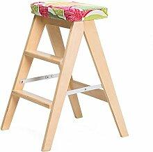 Küchenhocker aus massivem Holz tragbar, tragbar, klappbar Leiter Multifunktionshocker Barhocker ( Color : A , Size : Wood color )