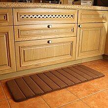 Küchenläufer Antirutsch Küchenmatte Wasserabweisend Badezimmer Teppich for Home and Office 120 x 45 cm braun by KMAT