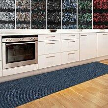 Küchenläufer Granada in großer Auswahl | strapazierfähiger Teppich Läufer für Küche Flur uvm. | rutschfester Teppichläufer / Flurläufer für alle Böden ( 80x100 cm Blau )