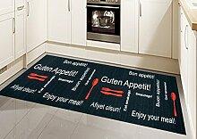 Küchenläufer Küchenteppich waschbar mit Schriftzug Guten Appetit in Schwarz Rot Größe 80 x 250 cm