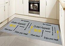 Küchenläufer Küchenteppich waschbar mit Schriftzug Guten Appetit in Grau Gelb Größe 67x180 cm
