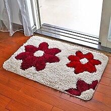 Küchenmatten - Teppich-Wohnzimmer-Matten-rutschfester Matten-Badezimmer-Tür-Matten-Schlafzimmer-Fußmatten-Fuß-Auflage ( Farbe : Rot , größe : 60*90cm )