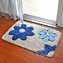Küchenmatten - Teppich-Wohnzimmer-Matten-rutschfester Matten-Badezimmer-Tür-Matten-Schlafzimmer-Fußmatten-Fuß-Auflage ( Farbe : Blau , größe : 60*90cm )