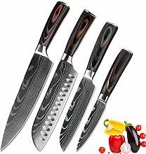 Küchenmesser Edelstahl Damaskus Muster Messer
