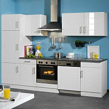 Küchenmöbel Kombination in Hochglanz-Weiß 280cm breit (6-teilig)