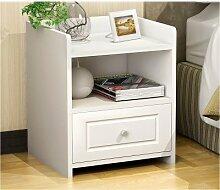 Küchenmöbel-WXP Locker Nachttisch Einfache und moderne Speichernachttisch Einfache stilvoll eingerichtete Zimmer Spind Kreative Aktenschrank Nachttisch kleinen Schrank WXP-Küchenschränke und Besteckschränke ( Farbe : White Single Drawer )
