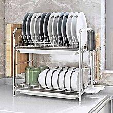 Küchenregal aus Edelstahl mit zwei Fächern